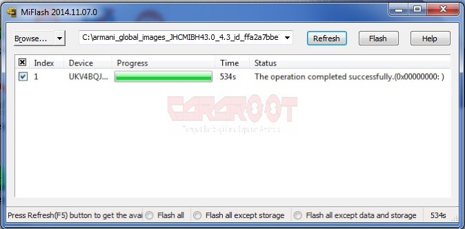 Cara Install Ulang (Flashing) Redmi 1S dengan PC 6