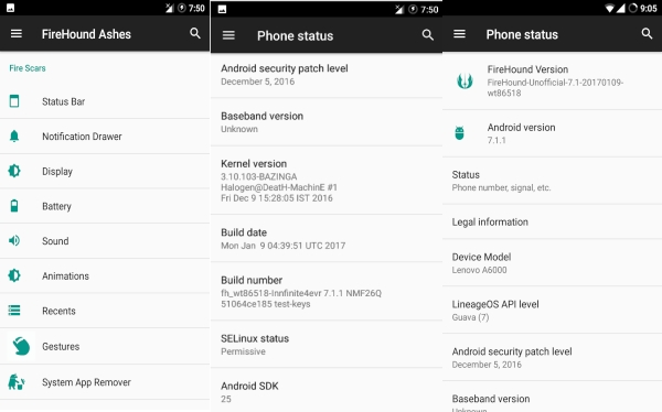 Custom ROM FIREHOUND Android 7.1 Nougat buat Lenovo A6000/Plus 1