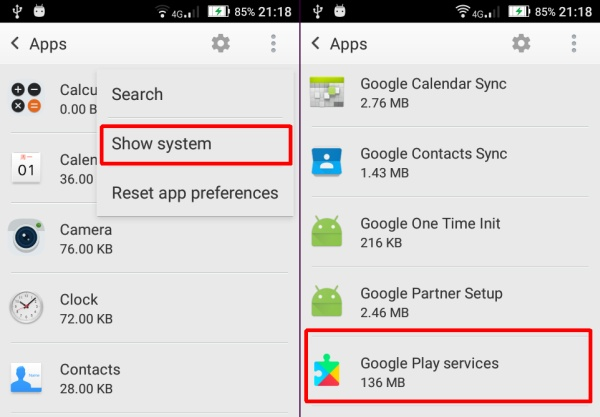Show System Google Play Service