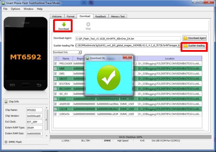 Cara Flash Redmi Note 3G/Note 1W yang Bootloop atau Mati 1