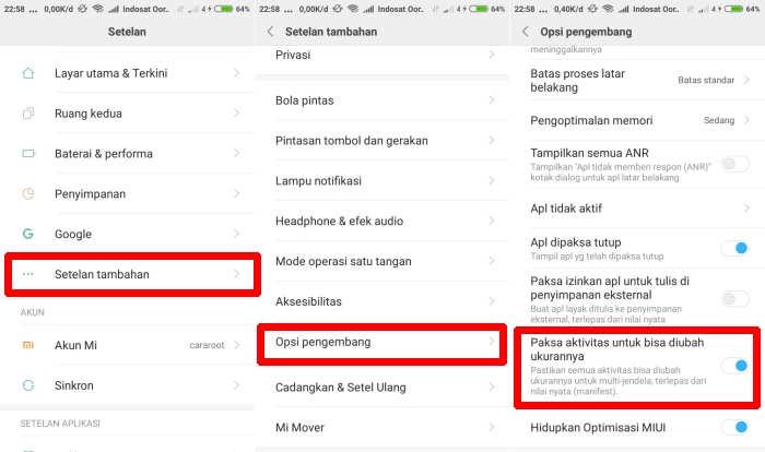menu opsi pengembang Paksa aktifitas untuk bisa diubah ukuranya