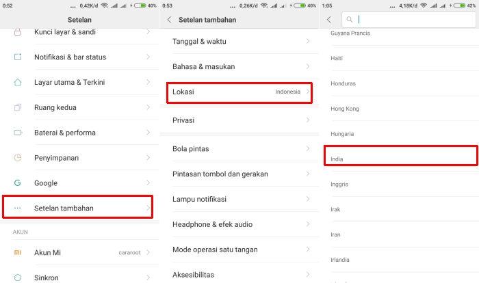 Menu Mengubah Lokasi Region Di Xiaomi
