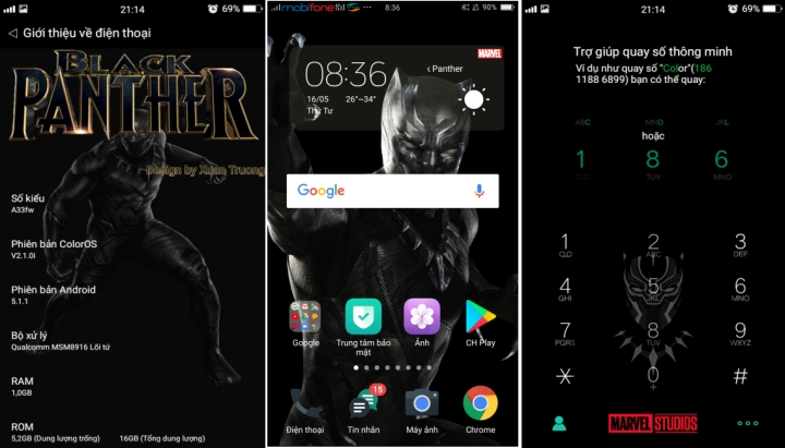 Tema Black Panther Buat ColorOS