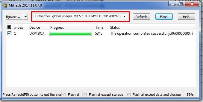 Flash Redmi Note 2 Selesai