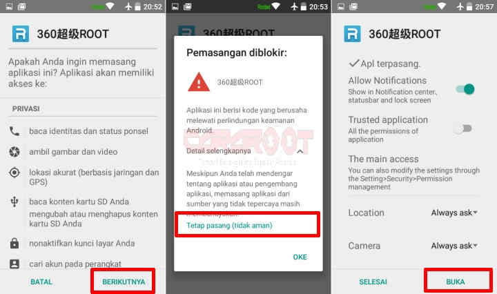 Install 360Root di HP Android