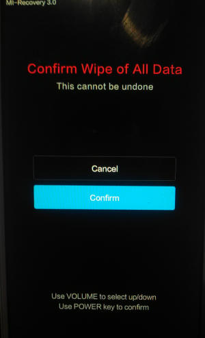 confirm wipe data