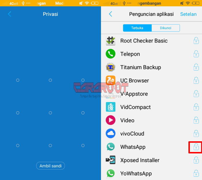 kunci Whatsapp pola vivo