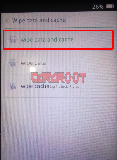 Menu Wipe Data Cache