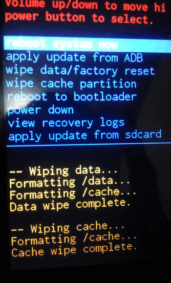 Wipe data dan Cache complete