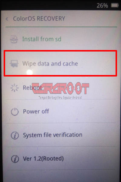 Wipe data and cache Oppo Recovery