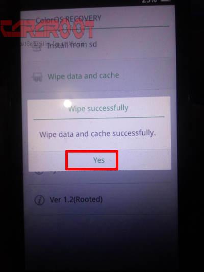 Wipe Data OPPO F1s Sukses