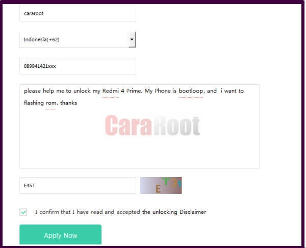 Cara Unlock Bootloader di Redmi 4 Prime dengan Mi Unlock Tool 2