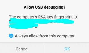 Notifikasi Allow USB Debugging