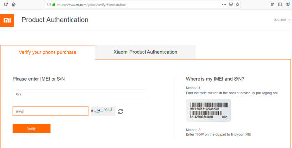 product authentication xiaomi