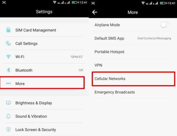 Opsi Pengaturan Jaringan 4G HP Coolpad
