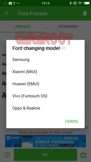 font changing model