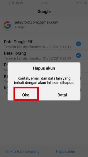 Konfirmasi Hapus Akun Google