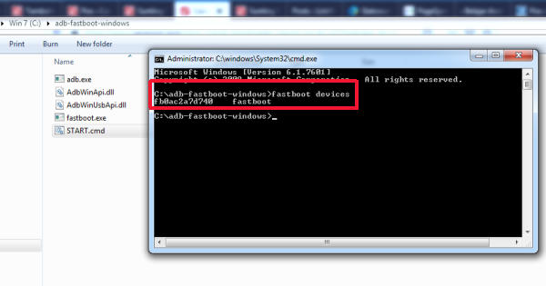 command fastboot devices