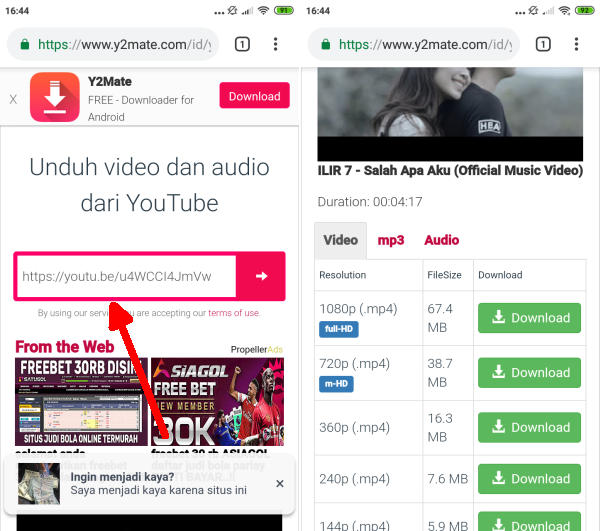 Paste Link Youtube di Y2mate