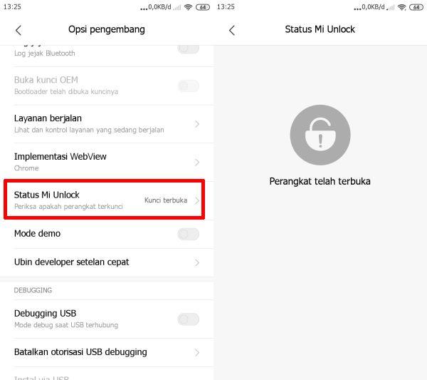 Status Mi Unlock Di Opsi Pengembang Xiaomi
