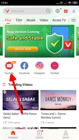 Icon Youtube Di Aplikasi Vidmate