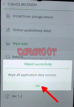 wipe data sukses oppo a3s