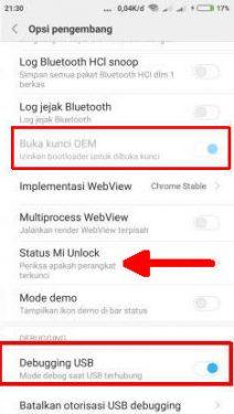 buka status mi unlock