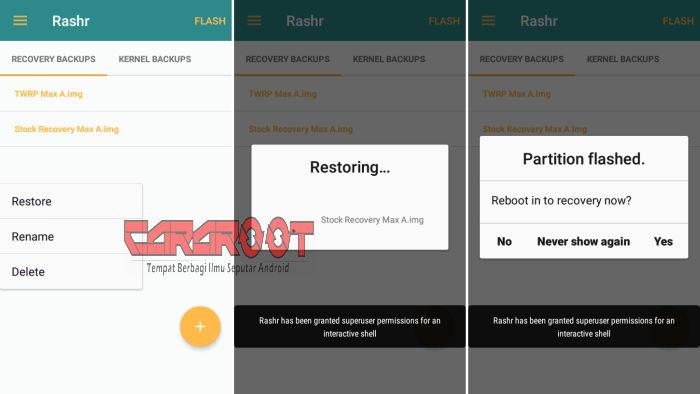 Restore Recovery via Rashr