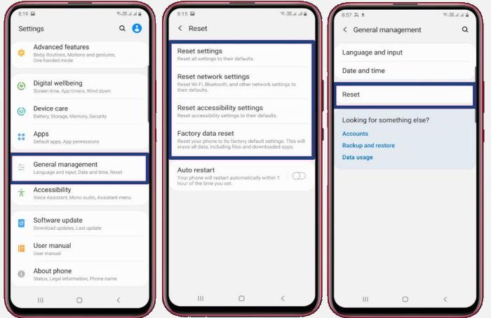 Cara Reset Samsung via Settings