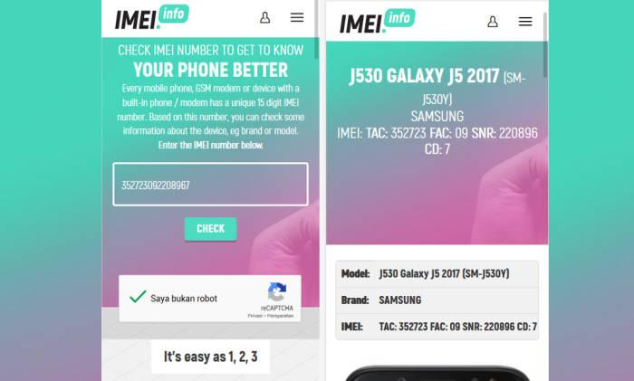 Cek IMEI Samsung Di imei.info