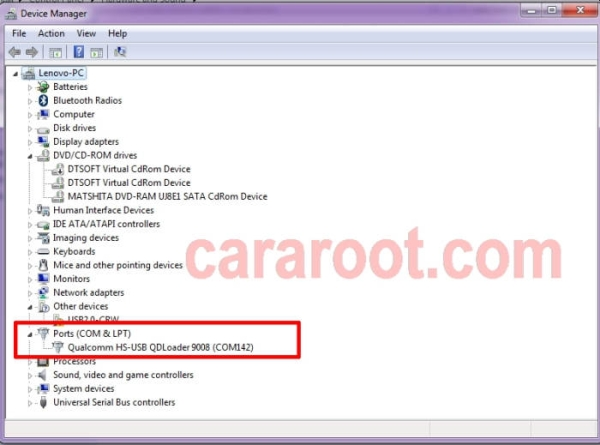 Device Manager Port Qualcomm USB QDLoader 9008