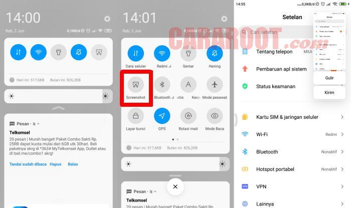 Cara Screenshot Hp Xiaomi Lewat Quick Settings
