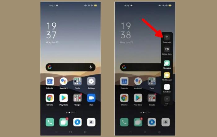 Cara Screenshot Oppo A15 Smart Sidebar